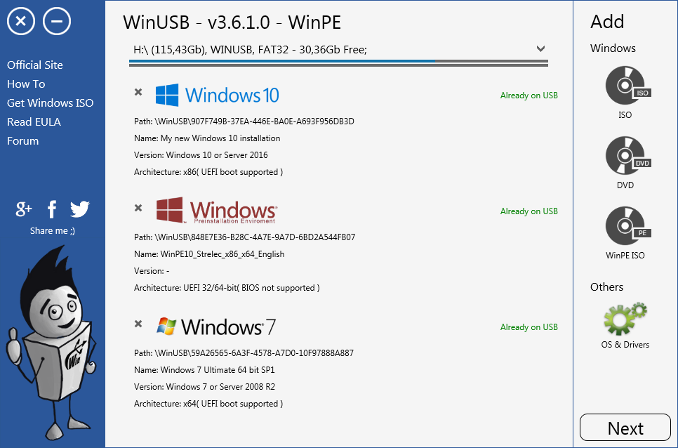WinUSB - Linux, Rescue or Windows bootable USB without